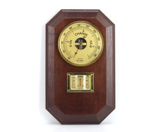 Vintage French Barometer Thermometer Weatherstation, Made in France, Traditional Office or Home Decor