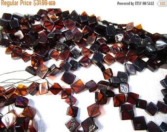 20% OFF SALE Rare Natural Orange Amber Beads Square Diamond 8mm 9mm , Cognac Dark Amber