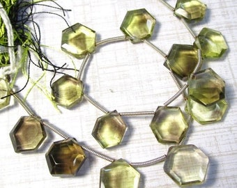 SALE Out Of TOWN Natural Quartz 12mm Briolette Beads, Oro Verde Lemon Smokey Quartz Gemstone Hexagon Beads , 9 1/2 Inches