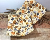 Fabric Bowl Holders, Cat Theme, Tan Bowl Cozys, Microwave Pot Holders, Gift for Cat Lover, Gift under 20.00, Kitchen Gift Idea, Set of 2