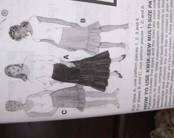 New/Uncut - Kwik Sew Sewing Pattern 3373 - All Sizes - Misses Skirts, Knee Length Shirt, Maxi Skirt, Calf Length Skirt