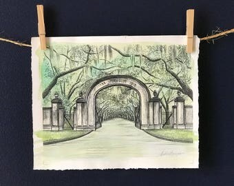 Wormsloe Plantation Gate Savannah Pen and Ink or Hand Painted Watercolor Fine Art Print