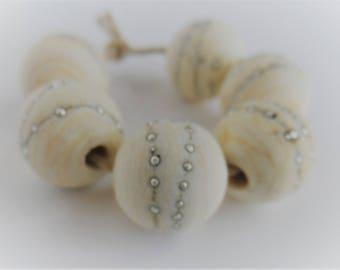 Handmade Lampwork Beads, Handmade Glass Beads, Etched Matte Round 12mm