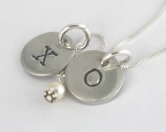 XO Necklace - Valentine's Day Necklace - Silver Necklace - Hugs and Kisses Necklace - Valentine's Day Gift - Gift For Girlfriend