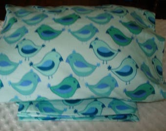 SALE Designer Flannel Baby blanket and 12 in X 16 in Pillowcase Baby Boy gift- Approximately 42 in X 40 in Ready To Ship