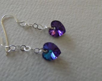 CB 157 Earrings with Swarovski crystal hearts.