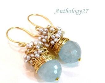 Aquamarine Jewelry, Aquamarine earrings, March birthstone Earrings with big faceted aquamarine, Bridesmaid Earrings, Aquamarine Birthstone