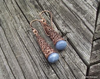 Ancient Days - Copper & African Blue Opal Earrings