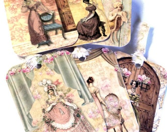 6 Gift Tags, Jane Austin, Vintage Look, Party Favor Tags,  Handmade, Merchandise Tags