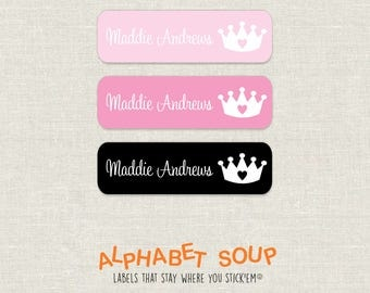 72 personalized dishwasher safe princess crown tiara labels | choose colors and fonts | microwave safe and waterproof