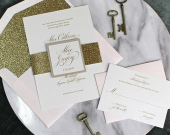 Glitter Wedding Invitation Gold And Blush Invite Belly Band