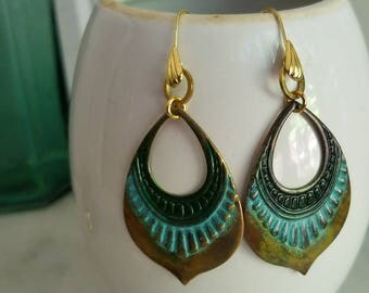 Ombre Green, Turquoise, Mustard Yellow Patina Earrings, Bohemian Dangles, Brass, Distressed, Tropical, Summer Jewelry