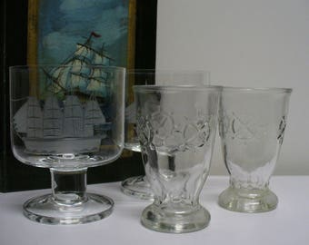 Set of 4 Nautical Glasses - 2 Tall Ship Glasses and 2 Anchor Glasses