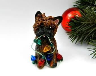 Cairn Terrier Brindle Christmas Ornament Figurine Lights Porcelain