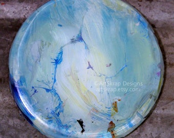 Big, Round, Blue,  Magnet, Made with Recycled Paint, Colorful, Office Decor, Home Decor, Kitchen Decor, Classroom, Cubicle, Art, Artskrap