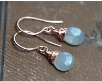 SALE Gray Moonstone Earrings Rustic Copper Wire Wrapped Smoke Grey Moonstone 14k Rose Gold Filled Rustic Jewelry