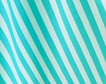Aqua/aqua stripes 1 yard cotton lycra knit