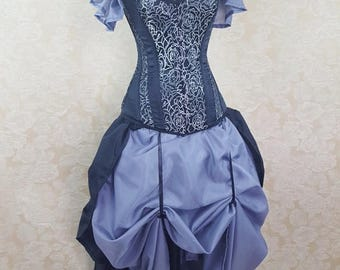 SUMMER SALE Privateer Skirt and Shrug Black and Grey Set-One Size Fits All