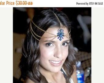 SUMMER SALE ROYAL Blue chain head piece - head chain - chain headpiece - chain headdress - hair chain
