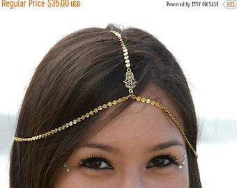 SUMMER SALE HAMSA Headchain. chain headpiece. head chain. hand of fatima