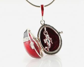 Ladybug Locket w Guardian Angel Jewelry Egg Locket Necklace Red Bug Ladybug w Flowers Angel Inside Sterling Silver Enameled Ladybird Pendant