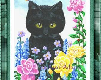Black Cat Art Print of Original Painting 5x7 Pink Yellow Roses Creationarts