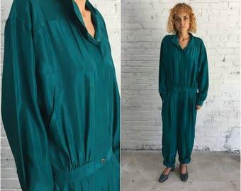 vintage silk jumpsuit / aviator style longsleeve deep teal silk one piece romper / silk coveralls