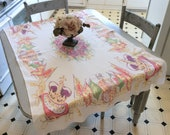Vintage Tablecloth Queen Elizabeth Coronation Souvenir Retro Kitchen The Crown EIIR