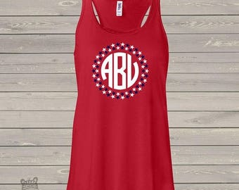 SALE - ships in time 4th Monogramed womens flowy tank top- perfect for July 4th festivities - SFJ-001v