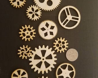 Maple Plywood Laser Cutout Gears Unfinished