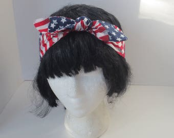 America Headband - USA Headband  -  Merica Adjustable headband - July 4th