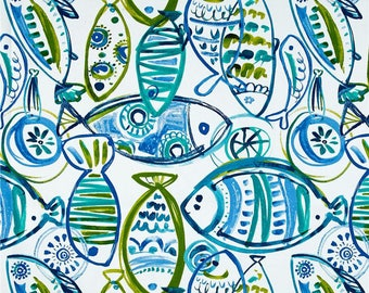 Ocean Theme Decor, Blue Fish Shower Curtain, Children's Shower Curtain, Abstract Beach Theme Shower Curtain, Blue Green Bathroom Decor