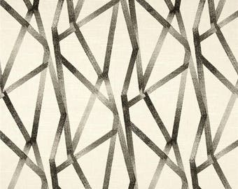 "Graphic Curtains, Geometric Window Curtains, Neutral Abstract Drapes, Grey Curtain Panels, Rod-Pocket 50""W, One Pair"