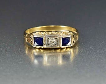 Art Deco Diamond & Sapphire Ring | Gold Art Deco Ring | Sapphire Wedding Band Ring | Antique Sapphire Diamond Ring | Anniversary Ring