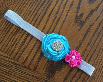 Teal and Pink Flower Baby Headband