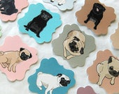 Reserved - Pug Die Cut Collection - Eco-friendly Set of 36 - Scrapbooking Embellishment