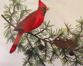 Sunset Stitchery Red Cardinal in Evergreens Crewel Embroidery Kit   Vintage