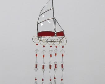 wind chime,red stained glass sailboat, nautical stained glass, beveled glass, Father's Day,beach house decor, art and collectibles, red seas