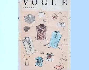 on SALE 25% Off 1950s Vogue Pattern, Collars Dickies Pattern, Bust 32 34, Tie Collar, Flounce Scarf, Pin Tuck Jabot Accessories, Vintage Sew