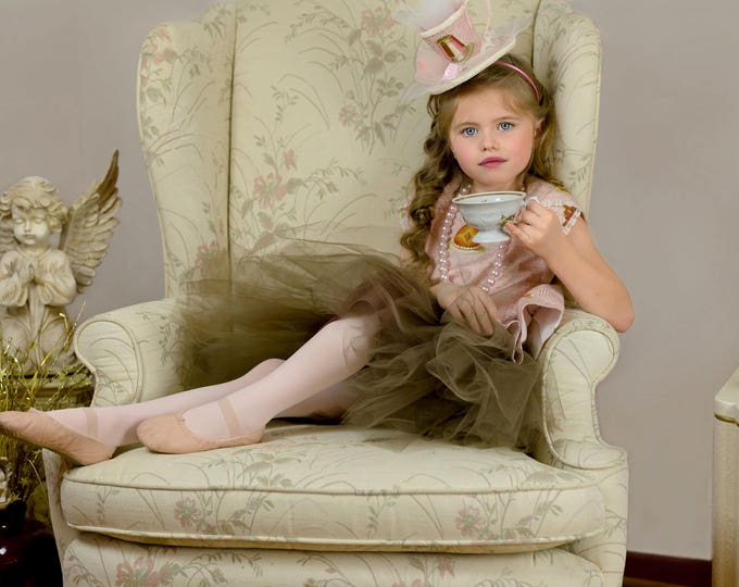 Boutique Tea Party Dress - Hi Low Dress for Girls - Tulip Sleeve Dress - Tea Party Hat - Luxury Kids Clothing - Pink and Gold  - 2T - 10 yrs