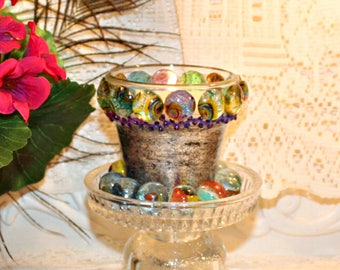 Soy Wax Embellished Candle,Tealight Holder,Shabby Chic,YOUR SCENT CHOICE,Homemade,Hand Poured,Marble Cabochons,Silver Leafing,Candle Plate