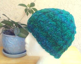 Handspun Knit Cable Beanie. Teal, Blue and Green Wool Hat. Thick and Soft. Ready to Ship. Gifts for Her. Beanies for Women. Variegated Teal.