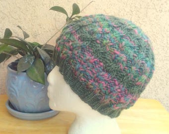 Half and Half Handspun Cable Beanie. Sage Green and Rose Variegated Knit Hat. Wool Mohair Beanie Hat. Sage Green. Rose. Light Sage Green.