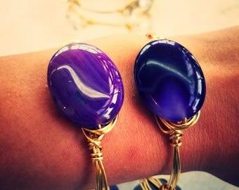 Sea Gypsy's Gold Purple Agate Bangle Bracelet