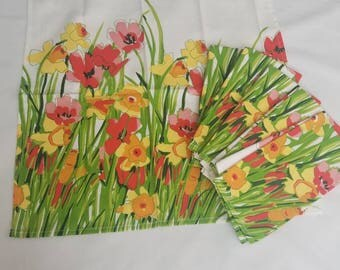 Vintage Vera Neumann Floral Print Poppy Tulip Napkins set of 6 NOS