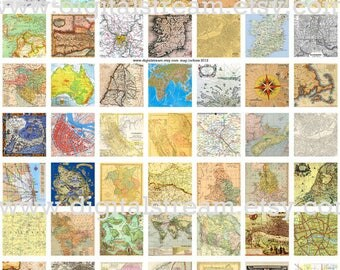 Map Inchies Digital Collage Sheet 1x1 Inch Squares 63 Different Images Printable Inchies Scrapbooking
