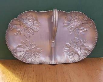 1950's decorative aluminum tray