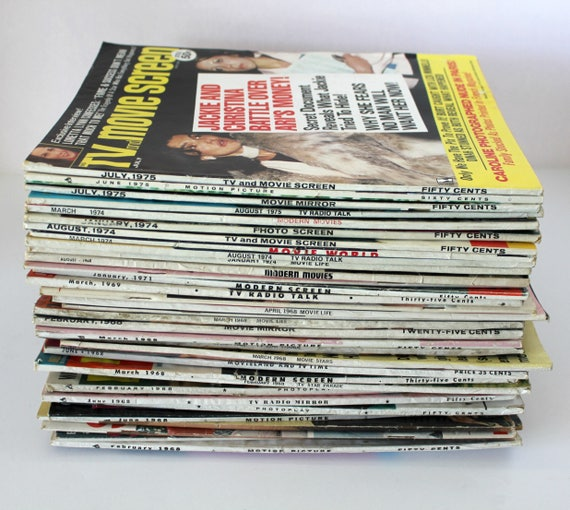Vintage Lot 34 Movie Motion Picture TV Tabloid Magazines, 1968 - 1974 Gossip Entertainment