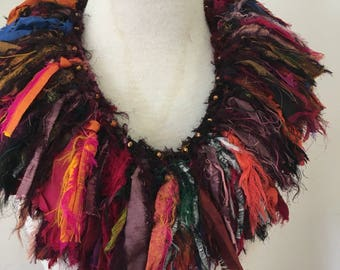 Recycled silk collar neckpiece boho tattered tribal