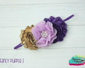 baby headband { Fancy Purple } gold, lavender, First Birthday, Christmas Dress Cake Smash flower girl, or planner band photography prop
